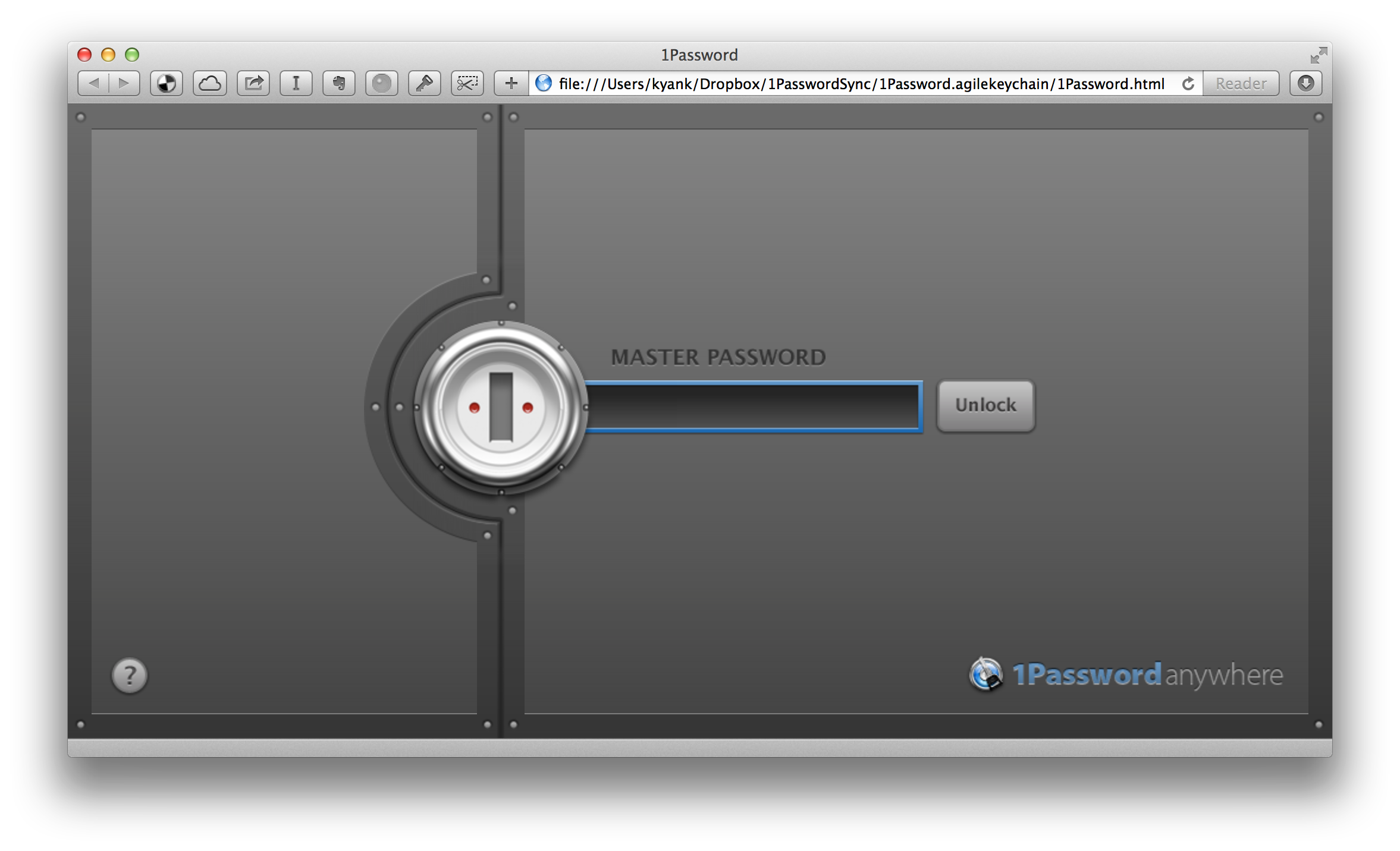 the 1Password Anywhere master password prompt