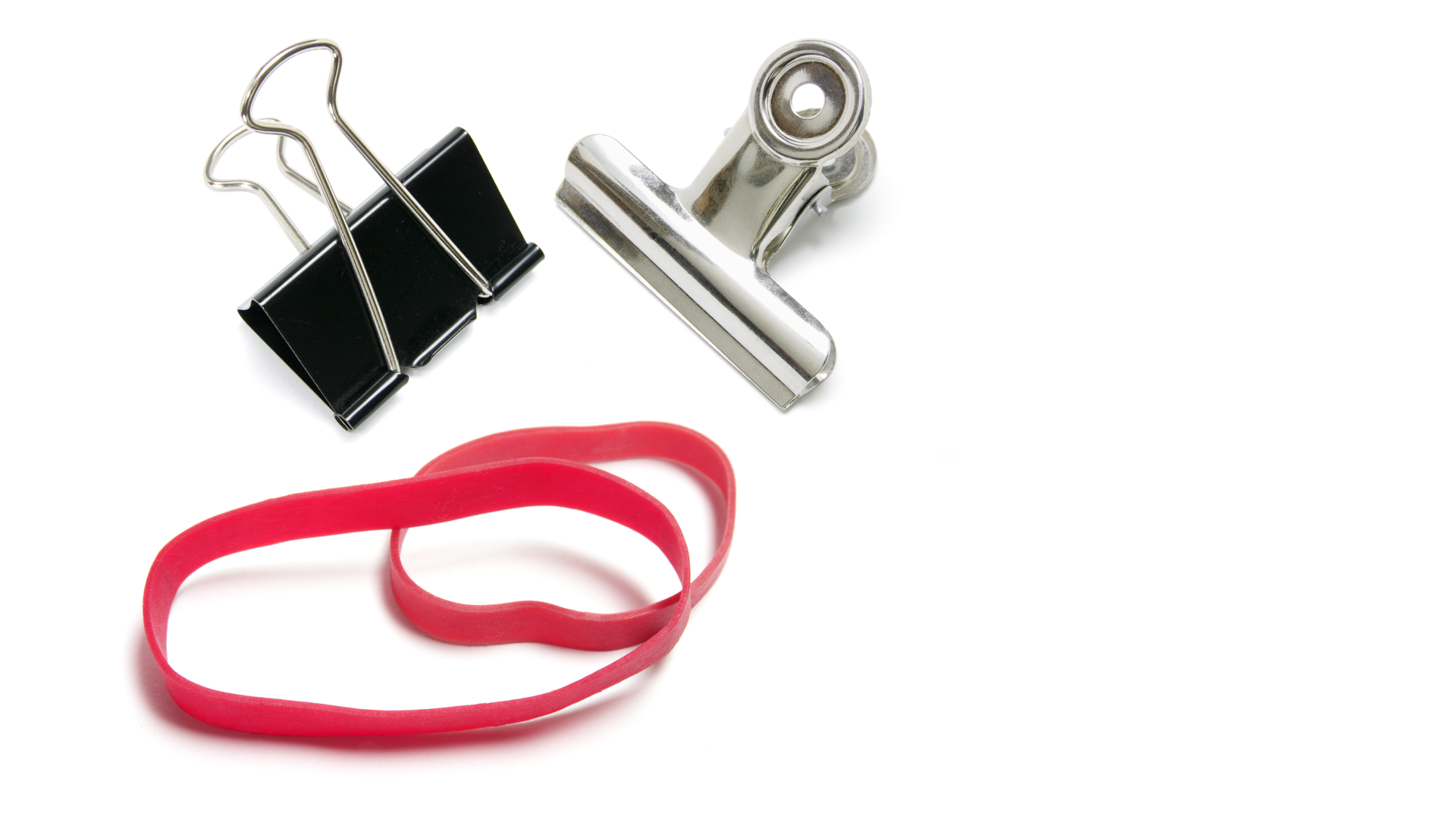 slide: two bulldog clips and a rubber band