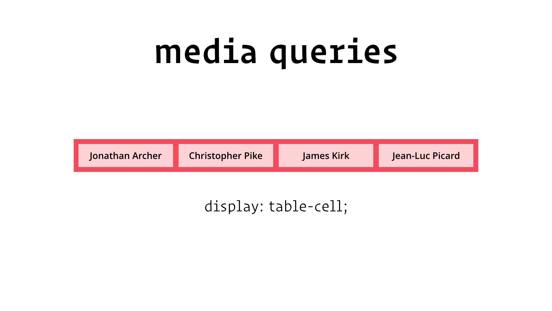slide: media queries display: table-cell;