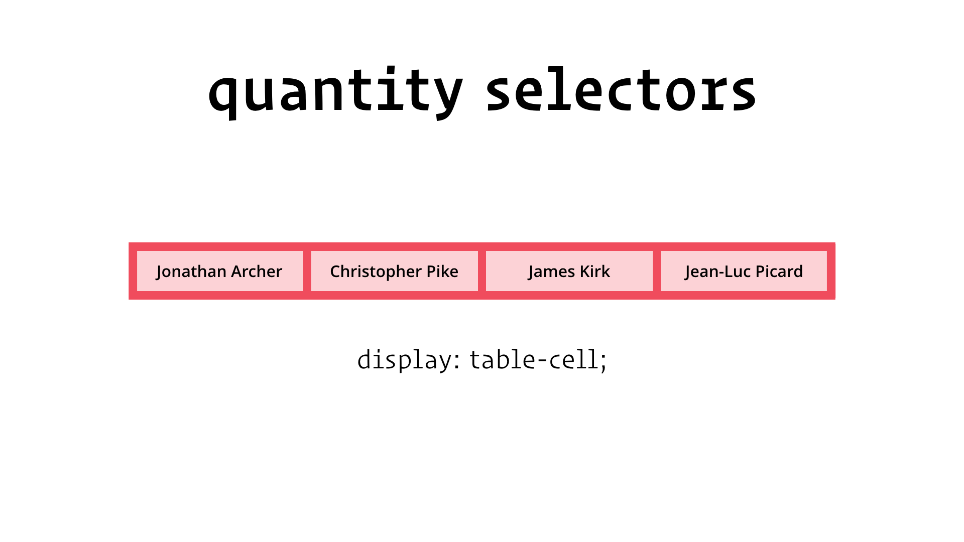 slide: quantity selectors display: table-cell;